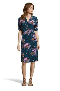 This v-neck style floral dress has a flattering elastic waist and a flouncy knee-length skirt. With a unique print and cut, this dress is must-have for every body type. Silk Floral Dress, Floral Sundress, Silk Dress, Wrap Dress, Print And Cut, Style Me, Cold Shoulder Dress, Dresses For Work, How To Wear
