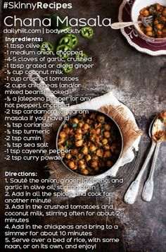 Easy Chana Masala (cut back on cayenne and jalapeno quite a bit! Veggie Recipes, Indian Food Recipes, Whole Food Recipes, Vegetarian Recipes, Cooking Recipes, Healthy Recipes, Vegetarian Lifestyle, Veggie Meals, Vegetarian Dinners