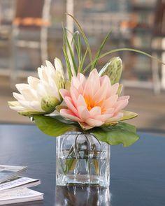 33cm Artificial Silk Flower Arrangement With Round Glass Vase 6 Colours