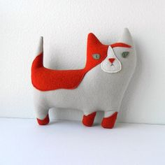 the AlleyCat  Plush Wool Pillow by threebadseeds on Etsy, $60.00