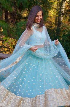 The Firoza Gypsy Sequin Lehenga Set – The Peach Project by Ayesha Indian Gowns Dresses, Indian Fashion Dresses, Indian Designer Outfits, Pakistani Dresses, Bridal Dresses, Blue Lehenga, Indian Lehenga, Simple Lehenga Choli, Floral Lehenga