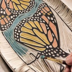 Adding color to sgraffito. NOW I know how she does it!! (Jennifer Allen)