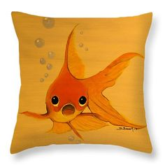 "Happy Goldfish Friends 1 Throw Pillow 14"" x 14"""