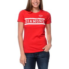 """The Diamond Supply Collegiate tee shirt for girls in the Red colorway is a basic tee shirt that will help amp up your style game. This bright Red tee features a classic crew neck, short sleeves, and a slim fit that looks great with skinny jeans and high tops. The front features a standard """"DIAMOND"""" Collegiate graphic in White for new school flavor. Keep your looks shining in Diamond style thanks to the Collegiate tee shirt for girls from Diamond Supply Co. Urban Fashion Women, Diamond Supply Co, Tee Shirts, Tees, Shirts For Girls, Looks Great, High Tops, Street Wear, Short Sleeves"""