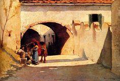 Borrani, Odoardo (1832-1905) - Conversation on a Village Street (Private Collection)  Odoardo Borrani (Pisa, 22 agosto 1833 – Firenze, 14 settembre 1905)  #TuscanyAgriturismoGiratola
