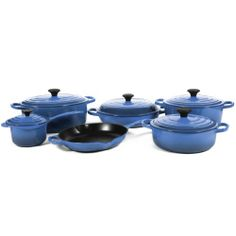 $1255.00 | Le Creuset Signature 11 Piece Marseille Blue Enameled Cast Iron Cookware Set | (CLICK IMAGE TWICE FOR UPDATED PRICING AND INFO) See More Enamel Cast Iron Cookware Sets at www.momsbestkitchen.com/product-category/cast-iron-cookware-sets/