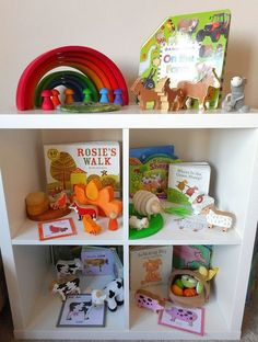 Shelfie - early years - toddler play - Preschooler - Grimms - Grapat - Eric&Albert - books - stories - Wooden Toys - Construction - Stacking- Mindfulness - Puzzles - Colours - Rainbow - Matching - Language - Words - Loose Parts - Farm Animals- Stories - L Preschool Literacy, Early Literacy, Literacy Activities, Preschool Rooms, Nursery Activities, Toddler Activities, Story Sack, Early Years Classroom, Eyfs Classroom