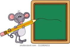 Cute mouse teacher with school board and pencil