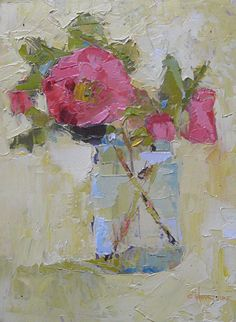'Camellias on Yellow' by Carol Maguire