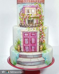 Hand-painted Cake Hand Painted Cakes, Couture Cakes, Cake Art, Amazing Cakes, Snow Globes, My Favorite Things, Fun Cakes, Desserts, Painting