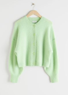 Oversized Ribbed Crewneck Cardigan - Light Green - Cardigans - & Other Stories Green Cardigan, Knit Cardigan, Fashion Story, Fashion Outfits, Cute Casual Outfits, S Models, Colorful Fashion, Sweater Weather, Aesthetic Clothes