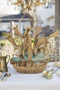 Gold and blue Easter table