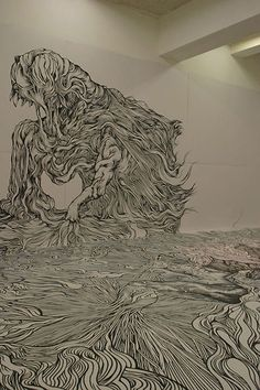 Japanese artistYosuke Goda draws large-scale illustrations and murals with nothing but a black marker. Her works reveal her great sense for detail and a passion for fantastic landscapes.