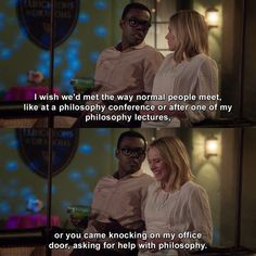 Check out the latest and funniest quotes of The Good Place. Netflix Tv Shows, Movies And Tv Shows, Movie Quotes, Funny Quotes, Place Quotes, Have A Happy Day, Funny Animal Photos, My Philosophy, Reasons To Live