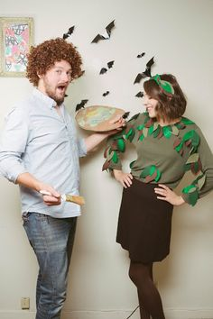 Bob Ross couple's costume via Rags and Roses