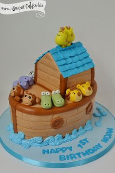 Noah's Ark First Birthday Cake