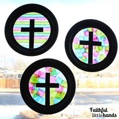Tissue Paper Cross Three Suncatchers