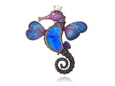 A Lydia Courteille seahorse brooch with opals, sapphires, amethysts, and diamond eye ... from her Deep Sea Collection.