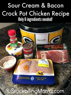 Sour Cream & Bacon Crock Pot Chicken Recipe is delicious and you only need 6 ingredients for an easy dinner meal!