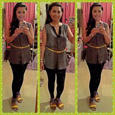 top-h&m,leggings-garage,sandal-lyne's,belt-qup