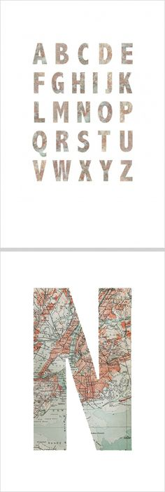 The entire alphabet made of old maps from some of the world's cities, each letter with a unique pattern in #wallpaper - Map Alphabet - from rebelwalls.com