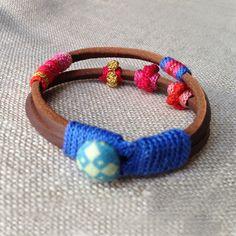 leather and crochet bracelet by kjoo on Etsy, $80.00