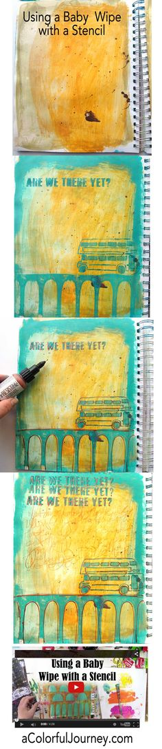 Video by Carolyn Dube using baby wipes and a StencilGirl stencil in her art journal.