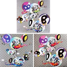 Takashi Murakami, Spiral (+ 2 others; 3 works), 2013–2014. 26.77 x 26.77 in. each. artnet auctions