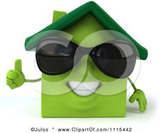 Clipart 3d Happy Green House Wearing Sunglasses And Holding A Thumb Up - Royalty Free CGI Illustration by Julos