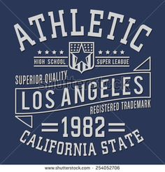 Athletic sport Los angeles typography, t-shirt graphics, vectors