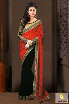 Take the fashionable and glamorized black red net party saree with designer blouse. It is mesmerizing with floral net pallu and a blouse with golden embroidery.  #saree, #partywearsaree, #designersaree, #embroiderysaree, #festivalsaree, #occasionsaree, #pavitraa