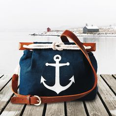 """""""⚓️ The Chatham bag ⚓️ KJP.com Constructed by Colin and Bobby  Mahogany handles carved by Bob  Anchor embroidered by Dean  Cotton Canoe Cord twisted…"""""""