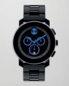 ShopStyle.com: Movado Bold 43.5mm Bold Chronograph Watch, Black/Blue $650.00