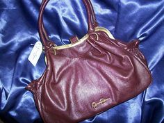 Jessica Simpson Solid Burgundy Couture SATCHEL