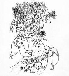 Vallotton Annie Drawings Good News Bible Collins Fontana Picture Jewish Art, Religious Art, Good News Bible, Church Graphic Design, Bible Illustrations, Doodle Lettering, Faith Bible, Palm Sunday, Bible Art