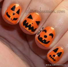 Pumpkin nails by Glitterobsession.com #nails #halloweennails #nailart