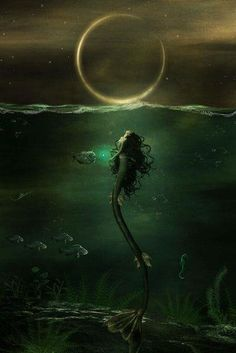 Mermaid with a green tail under water & moon art