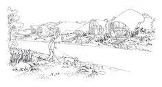 Zespół domów w układzie pasmowo-szeregowym. Projekt: Karolina Chodura, WA Politechniki Śląskiej Diagram, Map, House Architecture, Sketch, Home Architecture, Sketch Drawing, Location Map, Sketches, Maps
