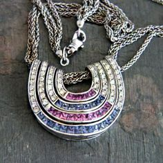 Contemporary 18k White Gold Blue and Pink Sapphire & Diamond Pendant By Oro Trend Italy