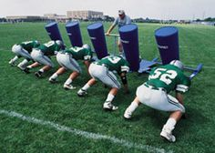 Football equipment for the team to use during practice
