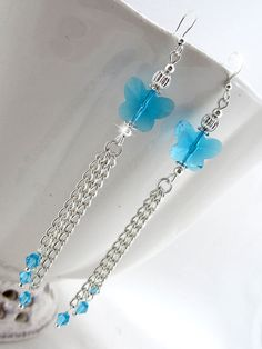 Cyan Crystal Butterfly Tassel Earrings  blue by OohlalaBeadtique, $8.00