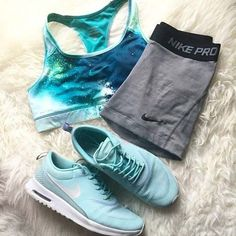 Light Blue + Grey Workout Outfit