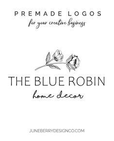 Hand Drawn Flower Logo Design Premade No. Flower Logo, Blue Home Decor, Hand Drawn Flowers, Shop Icon, Gold Logo, Shop Logo, Text Color, Business Names, Signature Logo