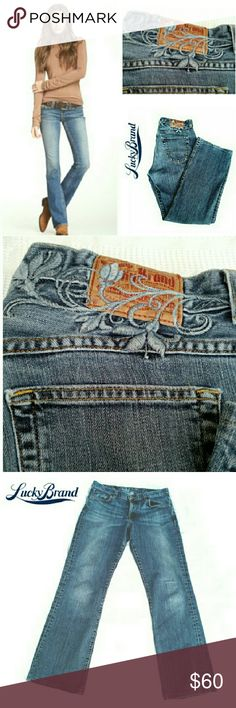 """LUCKY BRAND EMBROIDERED BOOT CUT JEANS LUCKY BRAND EMBROIDERED BOOT CUT JEANS Pre-Loved  / Pic for Similarity  *   Embroidered Back Yolk & Over Brand Tag *   5 Pocket Standard Jean *   Size 28 Approx Meas;   Waist 30.5 (flat)                              Inseam; 31""""                              BOOT Wdt. 9"""" Pls See All Pics. Ask ? If Needed Lucky Brand Jeans Boot Cut"""