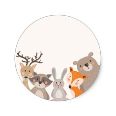Woodland baby shower favor tag sticker animals fox ♥ your own sticker, cupcake topper, favor tag or envelope seal!