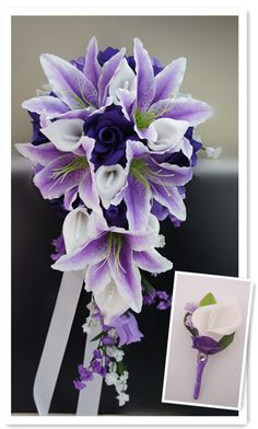 2pc set :Cascade bouquet-Shades of purple,white calla lily bouquet