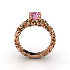 The Knotted Bouquet Ring customized in emerald, pink sapphire and rose gold