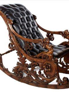 Funky Furniture, Unique Furniture, Furniture Decor, Furniture Design, Chair Design Wooden, Sofa Design, Steampunk Furniture, Wooden Rocking Chairs, English Decor