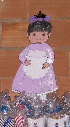 boneca-madeira, aniversários das gêmeas Anna Beatriz e Maria Eduarda