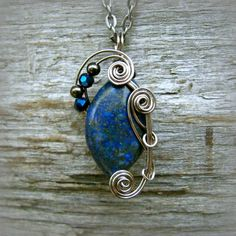 Lapis Lazuli Wire Wrapped Pendant Necklace in Gunmetal by CareMoreCreations.com  #handmade #jewelry